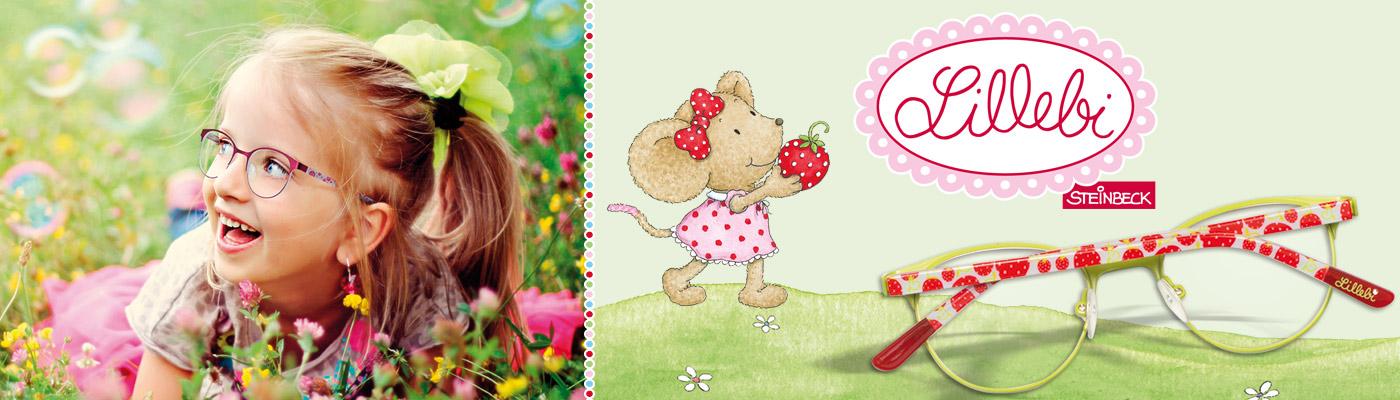 Lillebi die Mädchenbrille in sanften Farben  mit Pünktchen und Blumen